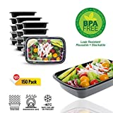 Koval Inc. 150-Pack 1 Compartment Rectangular Meal Prep Containers Bento Lunch Boxes with Lids - Stackable, Reusable, Leak Resistant, BPA Free, Microwave, Dishwasher & Freezer Safe (28oz)