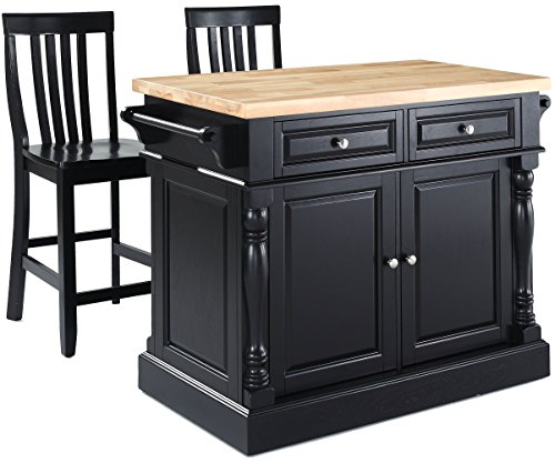 (Crosley Furniture Kitchen Island with Butcher Block Top and 24-inch Schoolhouse Stools - Black)