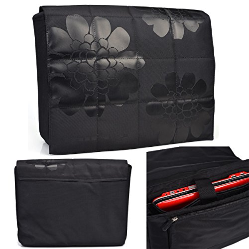 "NuVur Universal Flower Print Canvas Laptop/Tablet Bag Fits Lenovo LaVie Z 13.3"" Series, 360 13.3"" Series, S20 Touch, S215|Black"