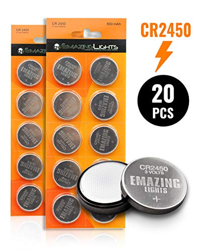 EmazingLights CR2450 Batteries (20 Pack) 3 Volt Button Cell Lithium 2450 Battery