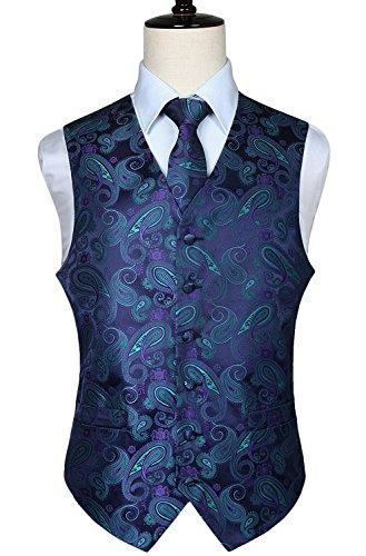 Floral Jacquard Gilet Verde Paisley Classico E Viola Cravatta Uomo Da Fazzoletto Hisdern Taschino 1xIAqUX