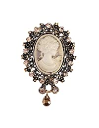 lureme® Vintage Elegant Victorian Lady Beauty Cameo with Crystal Brooch Pin (br000017)