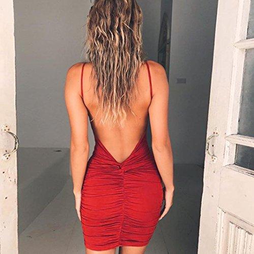 Vtements FeiXiang de Fines de Nu Fourreau Dos Rouge de Robe Robe Nuit Femmes Robe Mince Sexy Mini Femme Bretelles Robe Robe Chic soire Club rqvOWArw