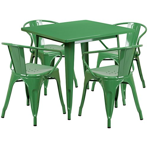 MFO 31.5'' Square Green Metal Indoor-Outdoor Table Set with 4 Arm Chairs