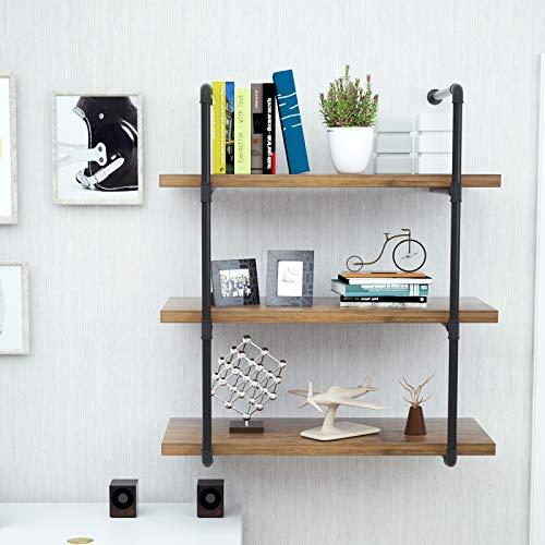 mecor Industrial Pipe Shelves with Wood 3-Tiers, Rustic Wall Mount Shelf 35.1in,Metal Hung Bracket Bookshelf,DIY Storage… 2