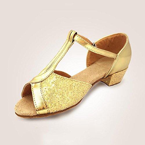 Größe amp; Latein Abend Damen Gold Ein Ballsaal 39 B Silber Sandale Heel Farbe Party Low Schuhe Tanzschuhe Schuhe Kunstleder XUE AT6xFFWO