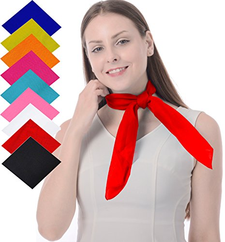 Red Neck Scarf in French Artist Mime 50's Costume Accessories Set Chiffon Sheer Square Fancy Scarf ()