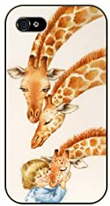Baby girl hugs giraffes - For Samsung Galaxy S3 I9300 Case Cover black plastic case / Animals and Nature, giraffe