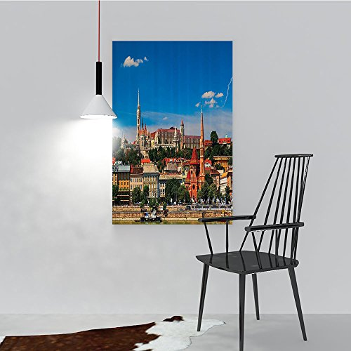 Wall Art Painting Frameless Budapest Hungary Exterior Europe Dome Architecture by River Landmark Posters Wall Decor Gift W24 x H36 ()