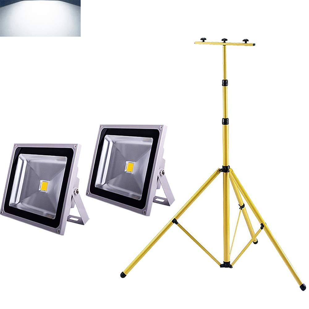2x50w KaltWeiãÿstativ MCTECH LED Strahler Baustrahler 2  50W mit Stativ - IP65 Fluter Floodlight innen außen (2x50W Kaltweiß+Stativ)