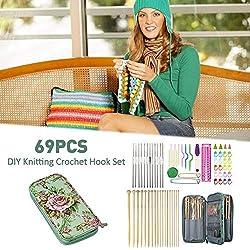 Ksruee 69Pcs Crochet Hooks & Knitting Needles Set Kit - Portable Case, with Ergonomic Handles, Ideal Gift for Mom Grandma Girfriend