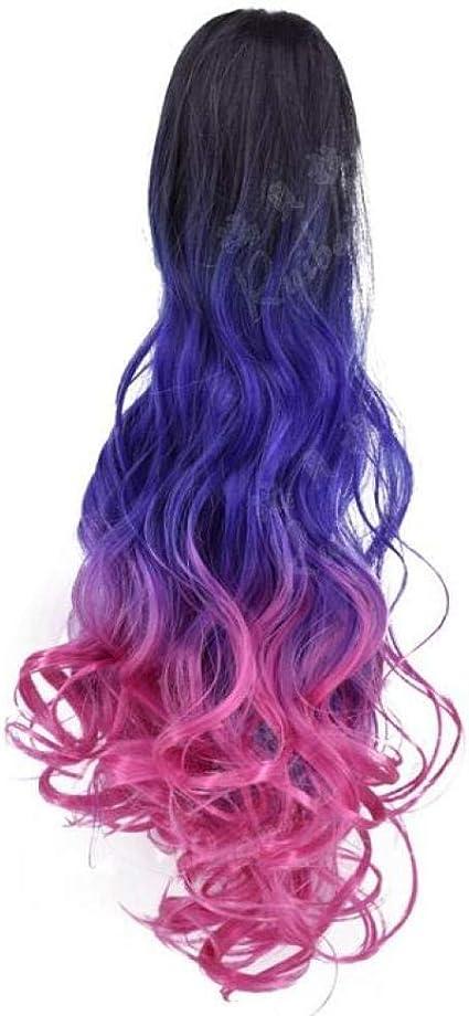 XTHY Peluca de pelo con clip de agarre degradado multicolor ...