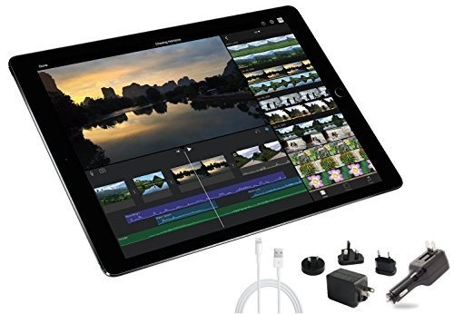 2015 Newest Apple iPad Pro 12.9-inch Tablet Multi-Touch Digitizer 2732 x 2048 QHD 3K Retina Screen Digitizer Penabled W/ Extra All-in-One Travel Charger (32GB, Wi-Fi, Space Gray)