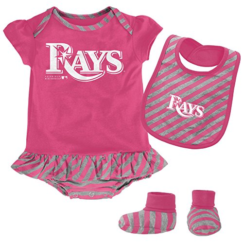 Girl Pink Onesie Bib Booties (MLB  Tampa Bay Rays Newborn Girls Pink Bib & Booty-6/9 Months)
