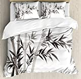 Bamboo House Decor Duvet Cover Set by Ambesonne, Traditional Bamboo Leaves Meaning Wisdom Growth Renewal Unleash Your Power Artprint, 3 Piece Bedding Set with Pillow Shams, Queen / Full, Grey White