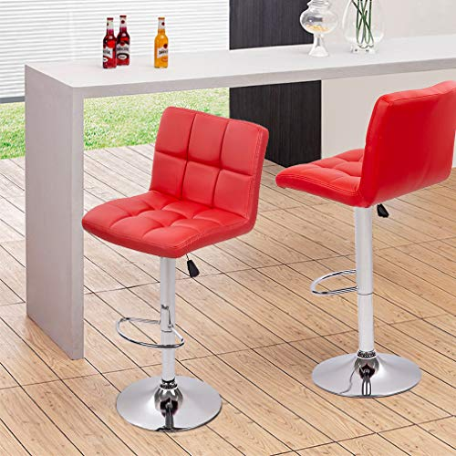 BestOffice Counter Height Bar Stools Set of 2 Bar Chairs Height Adjustable Swivel Stool with Back PU Leather Kitchen Counter Stools Dining Chairs