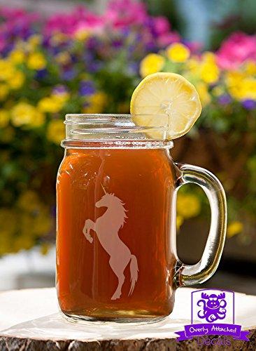 Rearing Unicorn Etched Glass 16 Ounce Mason Handled Jar Mug Glassware (Handled Beer)