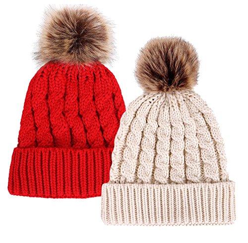 Simplicity Unisex Winter Hand Knit Faux Fur Pompoms Beanie 2 Pieces, Red/Cream