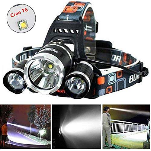 (Super Bright 8000 Lumens Led Headlamp Flashlight,Brightest Work Headlight,Waterproof Hard Hat Light 4 Modes with 2 Rechargeable Batteries, USB Cable and Wall Charger for Camping Hunting Outdoor Sports)