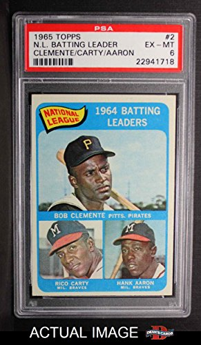 1965 Topps # 2 NL Batting Leaders Roberto Clemente / Hank Aaron / Rico Carty Braves / Pirates (Baseball Card) PSA 6 - EX/MT Braves / Pirates