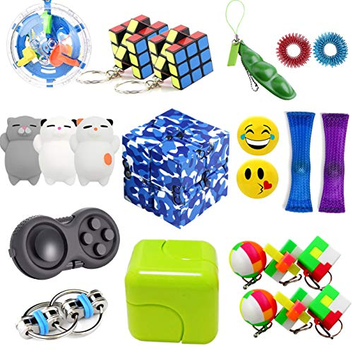 Leeche The Ultimate Handheld Fidget Toys Bundle 23 Pack Party Favors for Kids and Adults Sensory Toys Bundle/Squishies Toys/Infinity Cube/Fidget Ring,Christmas Stocking Stuffers