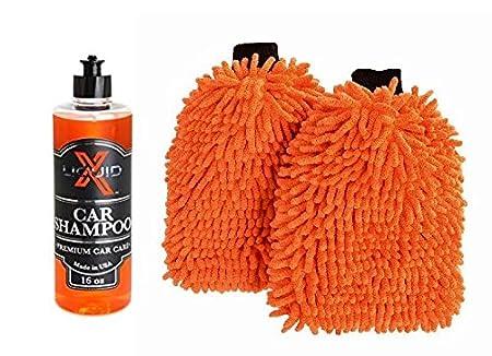 Liquid X Premium Chenille Microfiber Wash Mitt - Orange - Extra Large Size - 12' x 9' (2 Pack) Liquid X Premium Car Care