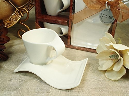 Biscotti Favors (Biscotti Espresso Cup and Saucer Set of 2 , White)