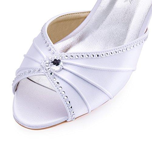 ElegantPark HP1623 Women's Sandals Peep Toe Mid Heel Pumps Pleated Rhinestones Satin Evening Wedding Party Shoes Photo #6
