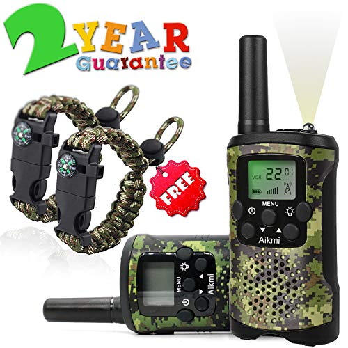 - Aikmi Walkie Talkies for Kids 22 Channel 2 Way Radio 3 Miles Long Range Handheld Walkie Talkies Durable Toy Best Birthday Gifts for 6 Year Old Boys and Girls fit Adventure Game Camping (Green Camo 1)