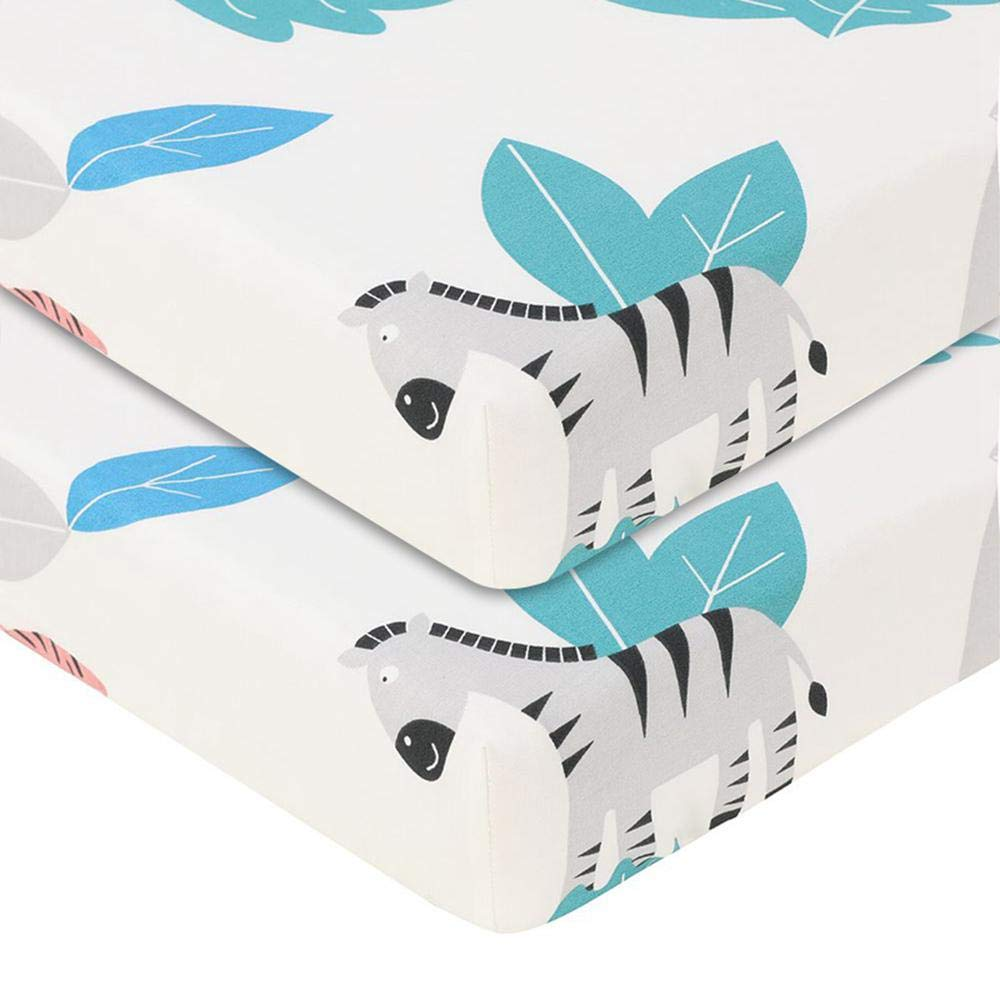 100/% Cotton Fitted Crib Sheet,Soft Breathable Hypoallergenic Printed Toddler Nursery Bedding Sheet Mini Crib Cot Mattress Topper Cover Fits Standard Crib