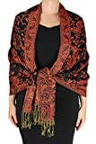 Peach Couture Elegant Double Layer Reversible Paisley Pashmina Shawl Wrap Scarf Red and Black