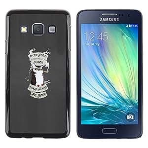 KLONGSHOP // Cubierta de piel con cierre a presión Shell trasero duro de goma Protección Caso - Consejos Búho - Samsung Galaxy A3 //