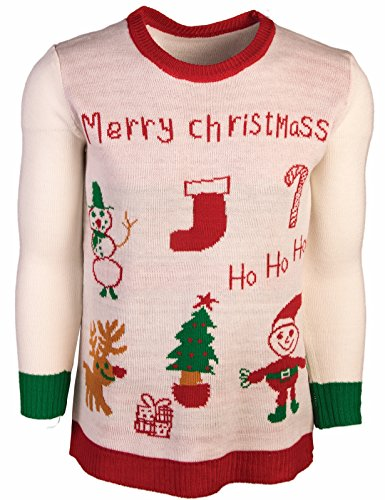 Costumes Ski Forum (Forum Men's Ugly Sweater, Merry Christmas, White/Red, X-Large)