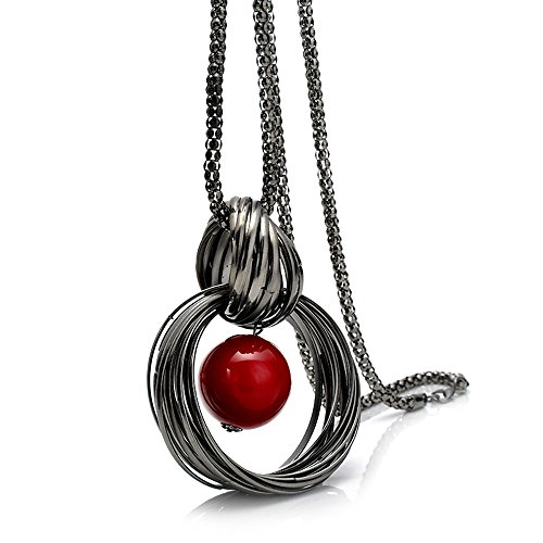 (MIXIA Charm Triple Crystal Star Long Sweater Chain Necklace Fine Jewelry Crystals Women Red Pearl Cross Tassel Necklace (Circle))