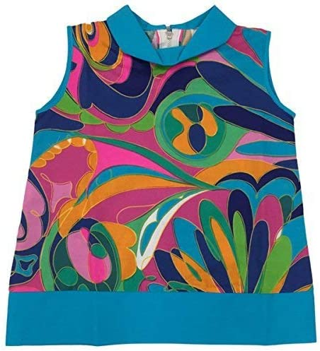 Girls Vintage Baby Abstract Bright Swirl Tunic Swing Sun Dress 6 to 18 Months