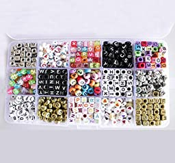 FOOG 1100pcs 6X6mm and 4X7mm 15 varieties of Mixed Acrylic A-Z Letter Beads for DIY Necklaces Bracelets or Children\'s Educational Toys