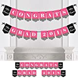 Big Dot of Happiness Dream Big - Graduation Party Bunting Banner - Pink Party Decorations - Congrats Grad 2018