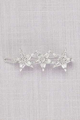 Vintage-Inspired Crystal Triple Star Barrette Style HJ23588, Silver