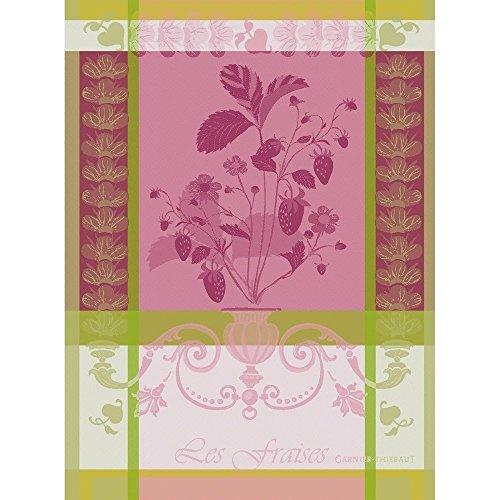 garnier-thiebaut-fraisier-rose-strawberry-plant-woven-kitchen-tea-towel-100-cotton