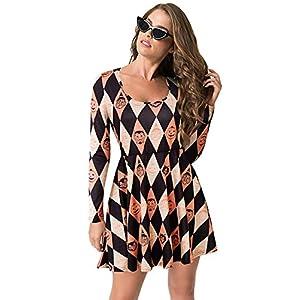 BIUBIU Women's Halloween Customes Long Sleeve Casual Printed Flared Party Dress