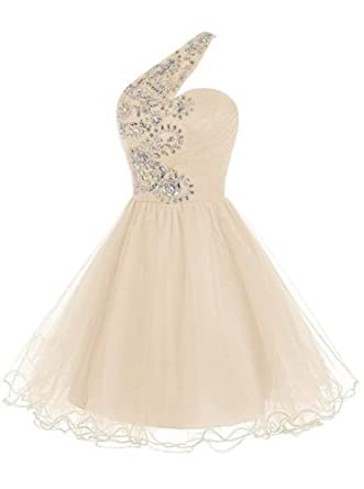 Drasawee Juniors Short One Shoulder Homecoming Cocktail Ball Party Dresses Rhinestone A-Line Prom Evening Gowns Champagne UK22: Amazon.co.uk: Clothing