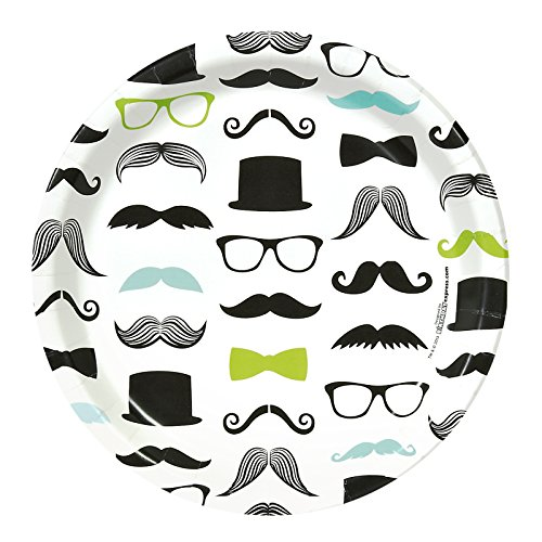 BirthdayExpress Mustache Man Party Supplies - Dinner Plates (8) for $<!--$5.49-->