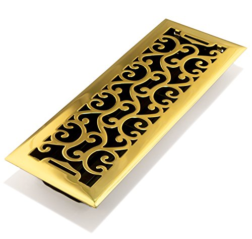 (Accord AMFRPBC412 Charleston Floor Register, 4-Inch x 12-Inch(Duct Opening Measurements), Polished Brass)
