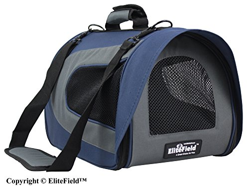 EliteField Soft Pet Carrier for Cats and Dogs, 18 L x 10 W x 11 H Inch Navy Blue/Gray