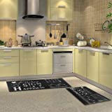 HEBE Anti Fatigue Kitchen Rug Set of 2 Piece Thick