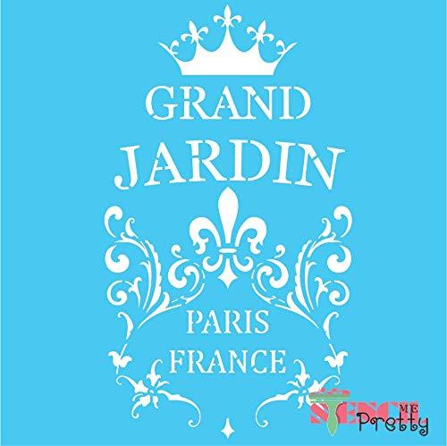 """Box St4 (Grand Jardin Chic French Rustic Garden Stencil - L (11.5"""" x 20""""))"""