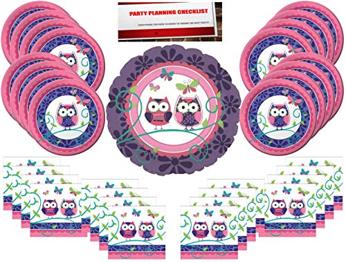 Owl Pal Party Supplies Bundle Pack for 16 Guests(Bonus 17 Inch Balloon Plus Party Planning Checklist by Mikes Super Store) for $<!--$14.99-->