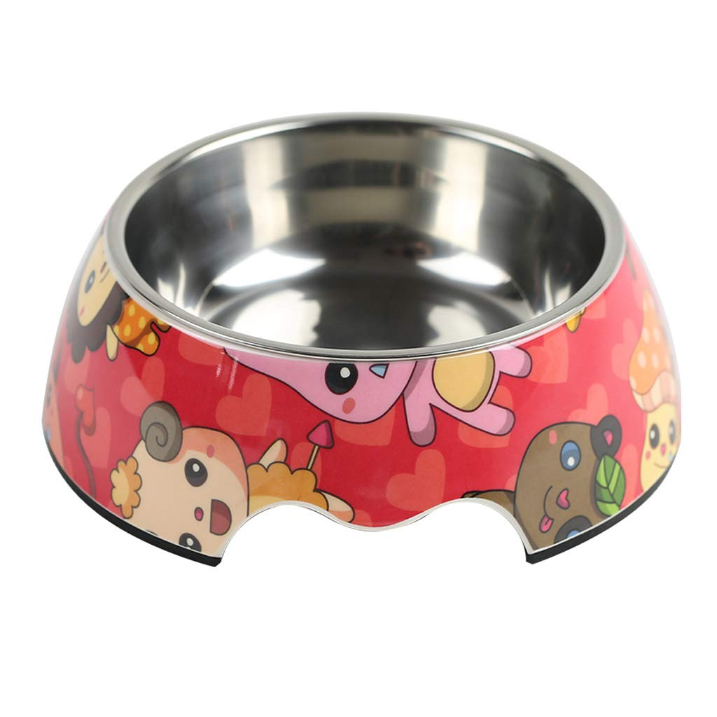 S Creative Fashion Pet Drinking Water Bowls Simple Pet Supplies Exquisite Pattern Stainless Steel Cat Dog Bowl (Size   S)