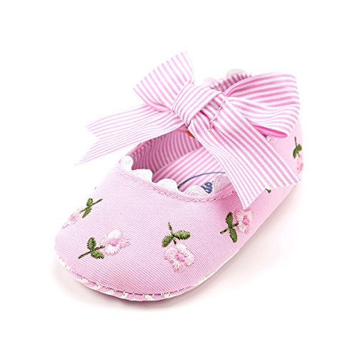 Pink Canvas Mary Jane (E-FAK Baby Girls Soft Sole Mary Jane Princess Canvas Crib Shoes With Bowknot(11cm(0-6 Months), Pink)