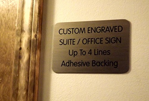 Custom Engraved 4x6 Brushed Bronze Office Suite Wall Sign | Company Name Plate | Personalized Wall Plaque | Business Doctor Law Firm Home Office Cafe Shop | Up to 4 Text Lines | Adhesive Backed